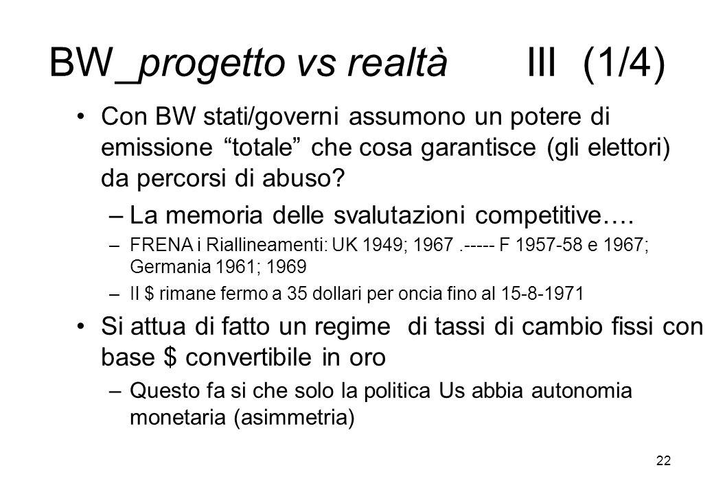 BW_progetto vs realtà III (1/4) Con BW stati/governi assumono un potere di emissione totale che cosa garantisce (gli elettori) da percorsi di abuso? –