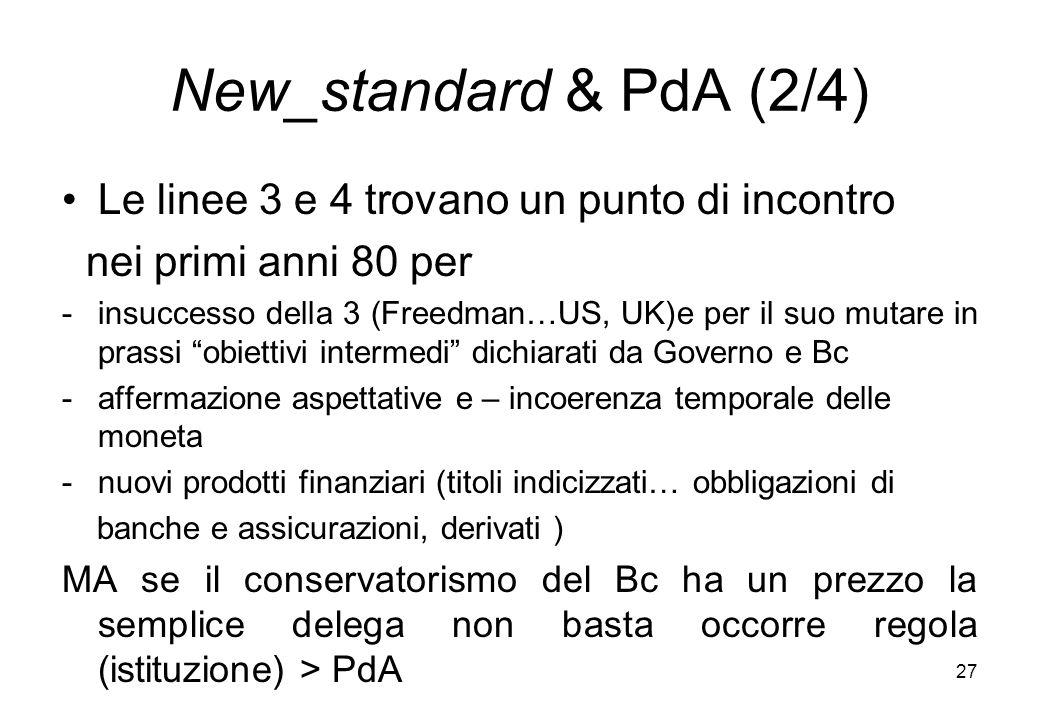 New_standard & PdA (2/4) Le linee 3 e 4 trovano un punto di incontro nei primi anni 80 per -insuccesso della 3 (Freedman…US, UK)e per il suo mutare in