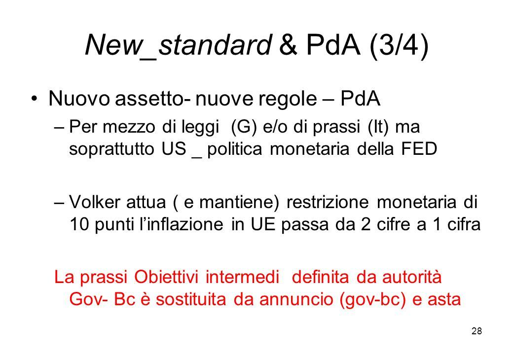 New_standard & PdA (3/4) Nuovo assetto- nuove regole – PdA –Per mezzo di leggi (G) e/o di prassi (It) ma soprattutto US _ politica monetaria della FED