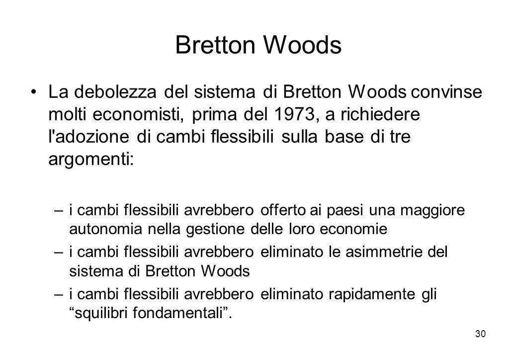 Bretton Woods La debolezza del sistema di Bretton Woods convinse molti economisti, prima del 1973, a richiedere l'adozione di cambi flessibili sulla b