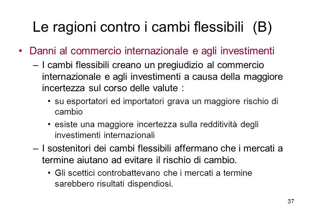 Danni al commercio internazionale e agli investimenti –I cambi flessibili creano un pregiudizio al commercio internazionale e agli investimenti a caus