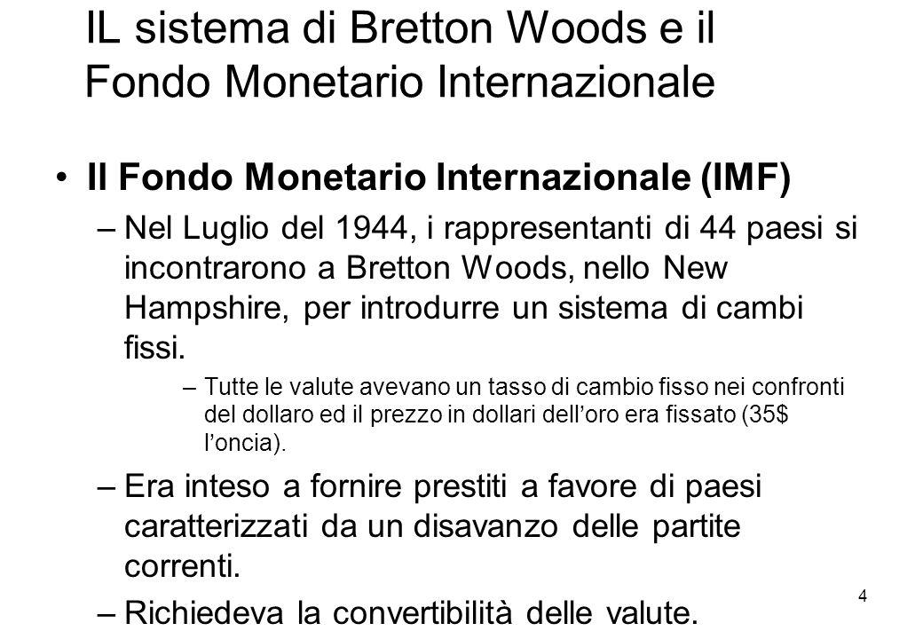 IL sistema di Bretton Woods e il Fondo Monetario Internazionale Il Fondo Monetario Internazionale (IMF) –Nel Luglio del 1944, i rappresentanti di 44 p