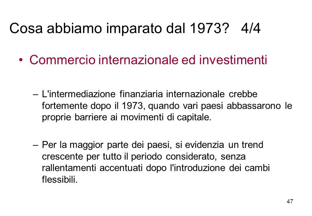 Commercio internazionale ed investimenti –L'intermediazione finanziaria internazionale crebbe fortemente dopo il 1973, quando vari paesi abbassarono l