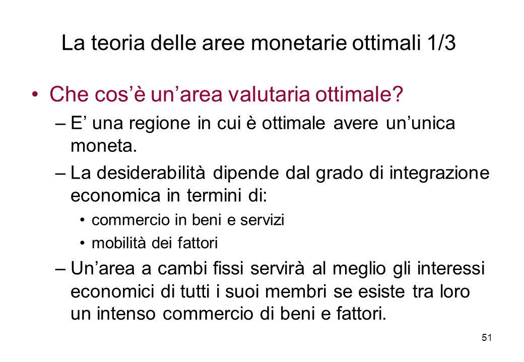 Che cosè unarea valutaria ottimale? –E una regione in cui è ottimale avere ununica moneta. –La desiderabilità dipende dal grado di integrazione econom