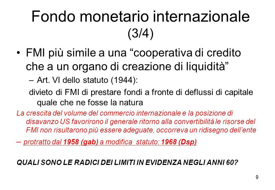 Fondo monetario internazionale (3/4) FMI più simile a una cooperativa di credito che a un organo di creazione di liquidità –Art. VI dello statuto (194