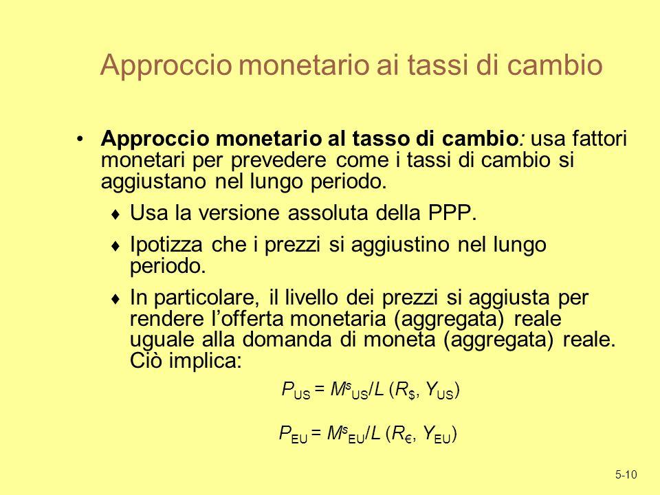 5-10 Approccio monetario ai tassi di cambio Approccio monetario al tasso di cambio: usa fattori monetari per prevedere come i tassi di cambio si aggiu