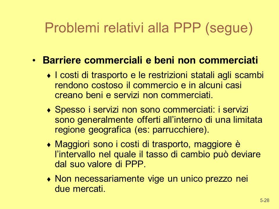 5-28 Problemi relativi alla PPP (segue) Barriere commerciali e beni non commerciati I costi di trasporto e le restrizioni statali agli scambi rendono
