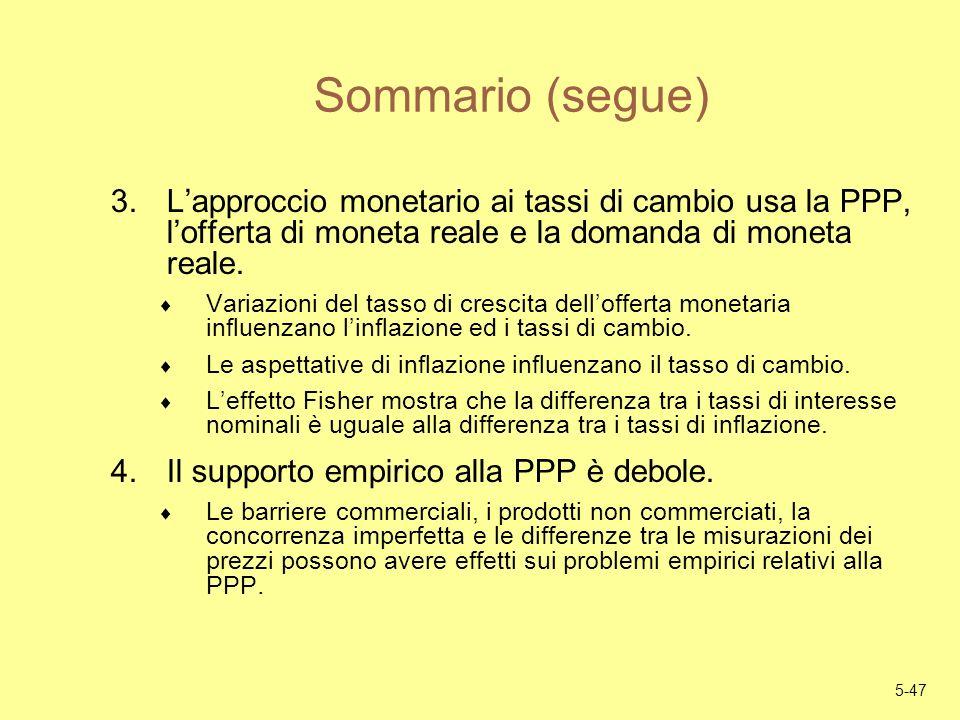 5-47 Sommario (segue) 3.Lapproccio monetario ai tassi di cambio usa la PPP, lofferta di moneta reale e la domanda di moneta reale. Variazioni del tass