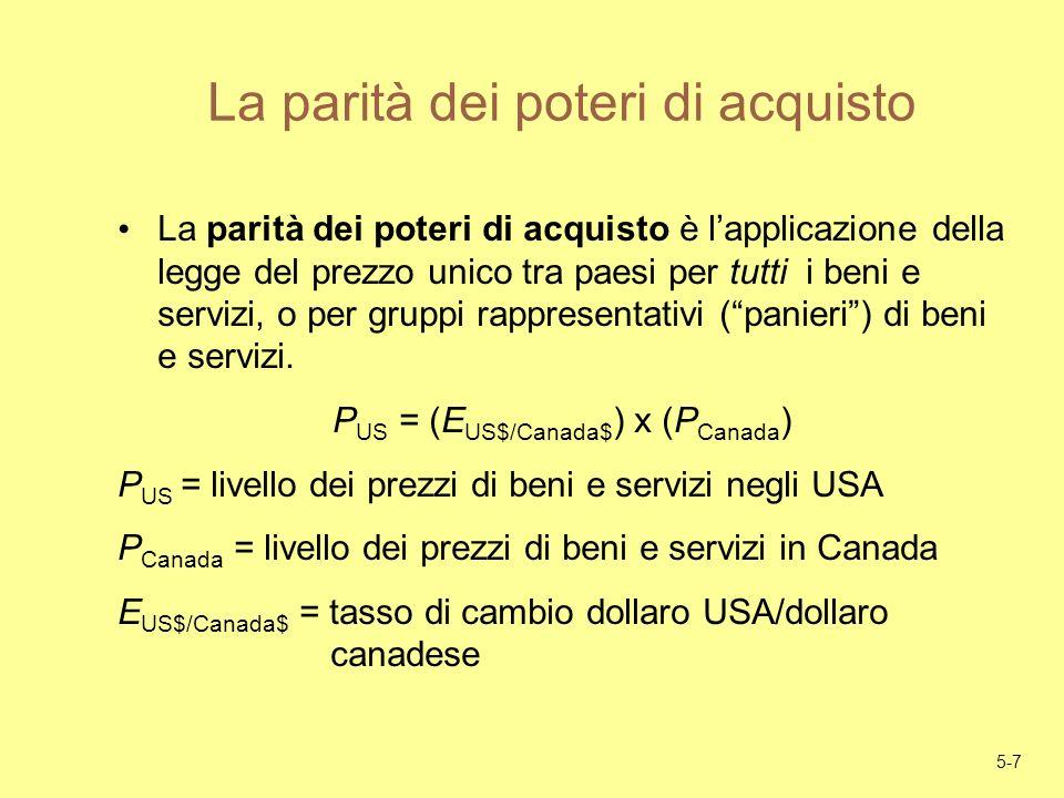 5-7 La parità dei poteri di acquisto La parità dei poteri di acquisto è lapplicazione della legge del prezzo unico tra paesi per tutti i beni e serviz