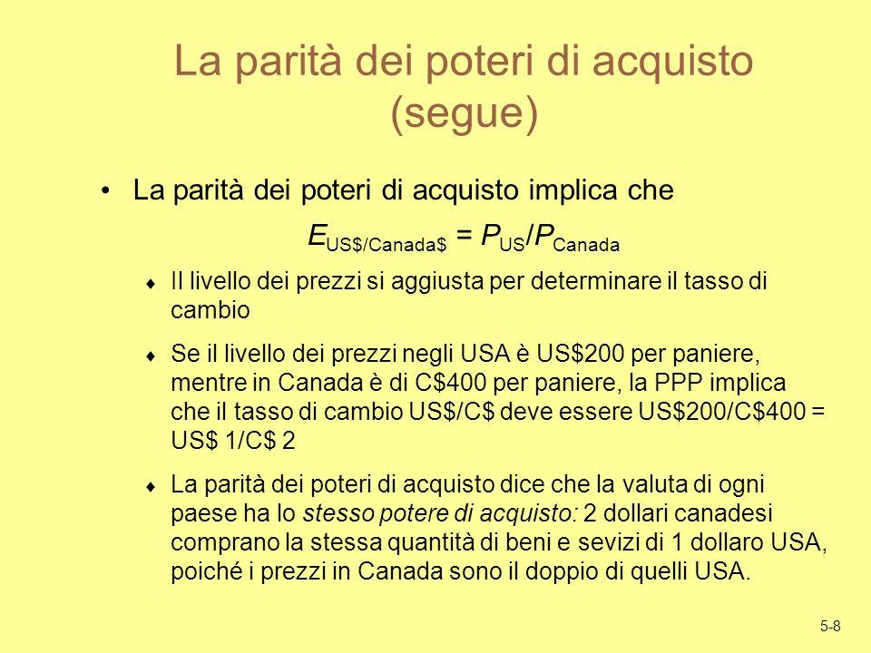 5-8 La parità dei poteri di acquisto (segue) La parità dei poteri di acquisto implica che E US$/Canada$ = P US /P Canada Il livello dei prezzi si aggi