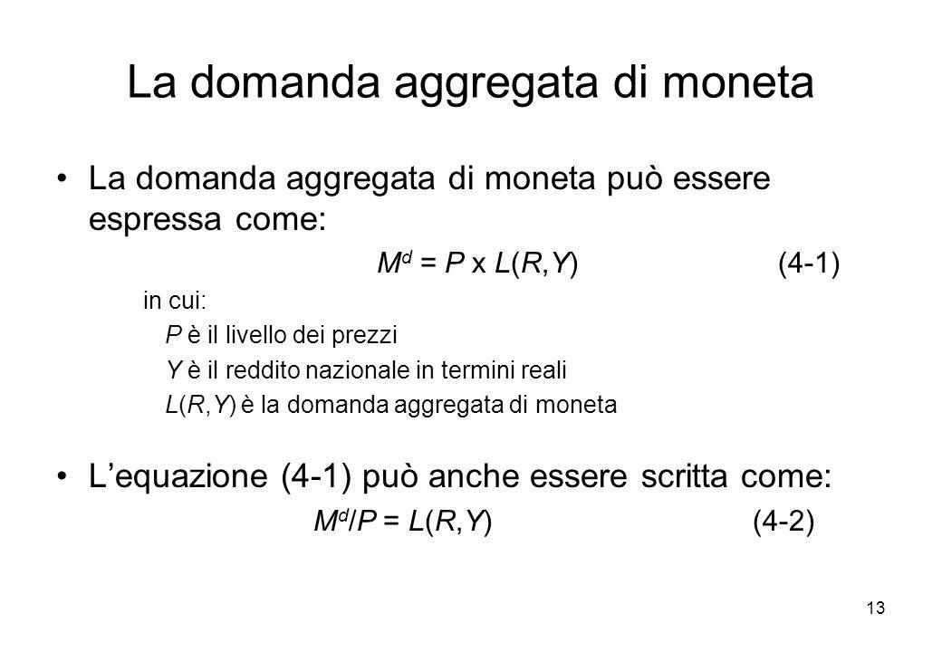 La domanda aggregata di moneta può essere espressa come: M d = P x L(R,Y) (4-1) in cui: P è il livello dei prezzi Y è il reddito nazionale in termini