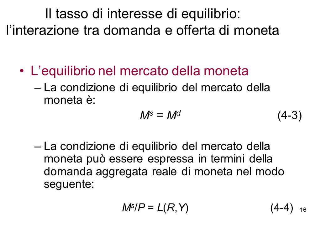 Lequilibrio nel mercato della moneta –La condizione di equilibrio del mercato della moneta è: M s = M d (4-3) –La condizione di equilibrio del mercato
