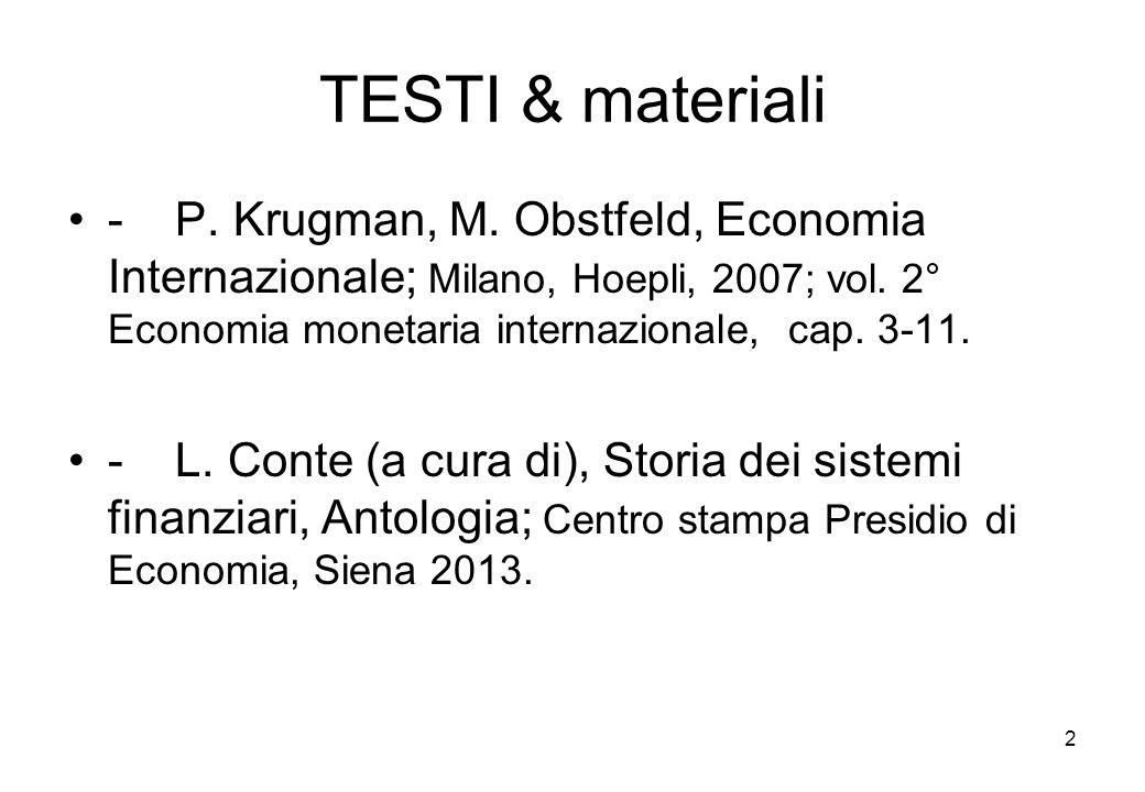 TESTI & materiali - P. Krugman, M. Obstfeld, Economia Internazionale; Milano, Hoepli, 2007; vol. 2° Economia monetaria internazionale, cap. 3-11. - L.