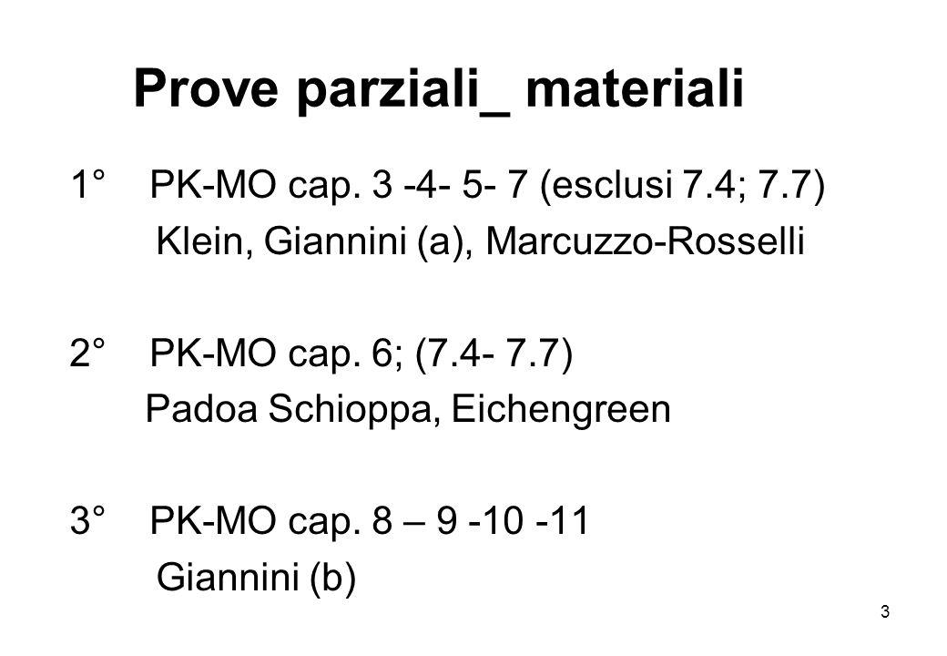 Prove parziali_ materiali 1° PK-MO cap. 3 -4- 5- 7 (esclusi 7.4; 7.7) Klein, Giannini (a), Marcuzzo-Rosselli 2° PK-MO cap. 6; (7.4- 7.7) Padoa Schiopp