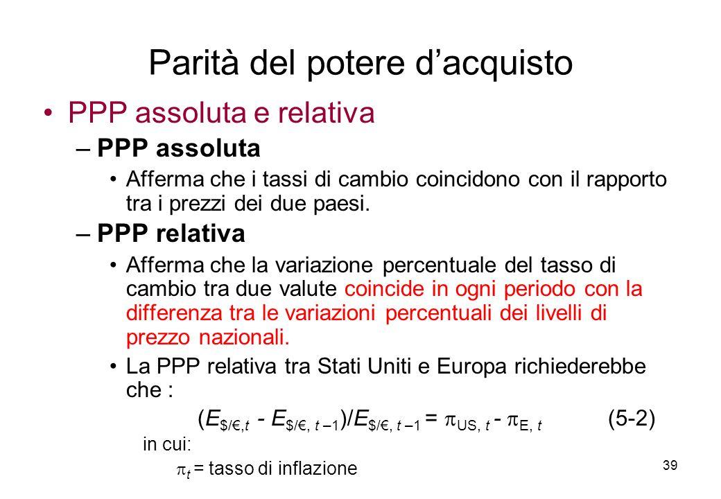 PPP assoluta e relativa –PPP assoluta Afferma che i tassi di cambio coincidono con il rapporto tra i prezzi dei due paesi. –PPP relativa Afferma che l