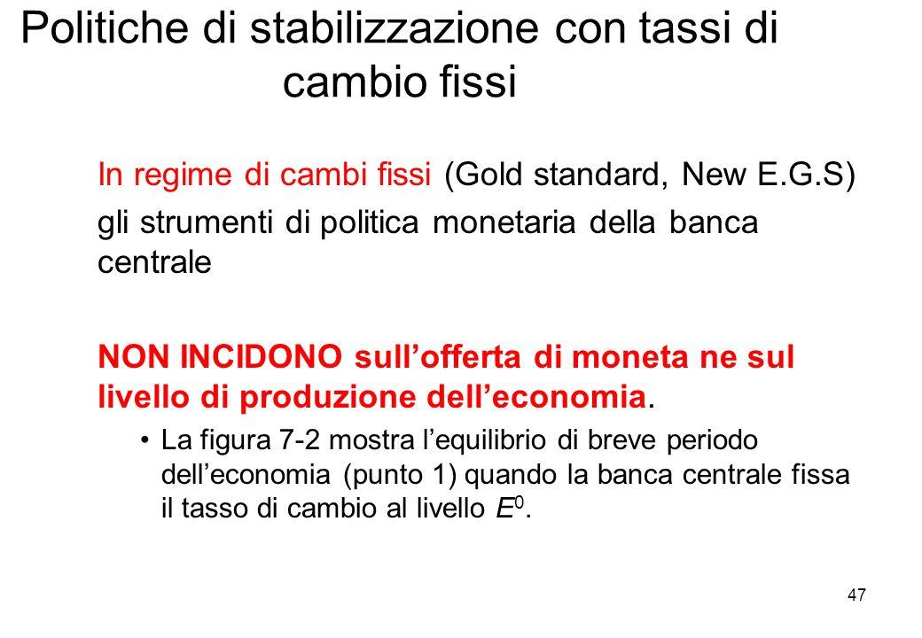 Politiche di stabilizzazione con tassi di cambio fissi In regime di cambi fissi (Gold standard, New E.G.S) gli strumenti di politica monetaria della b