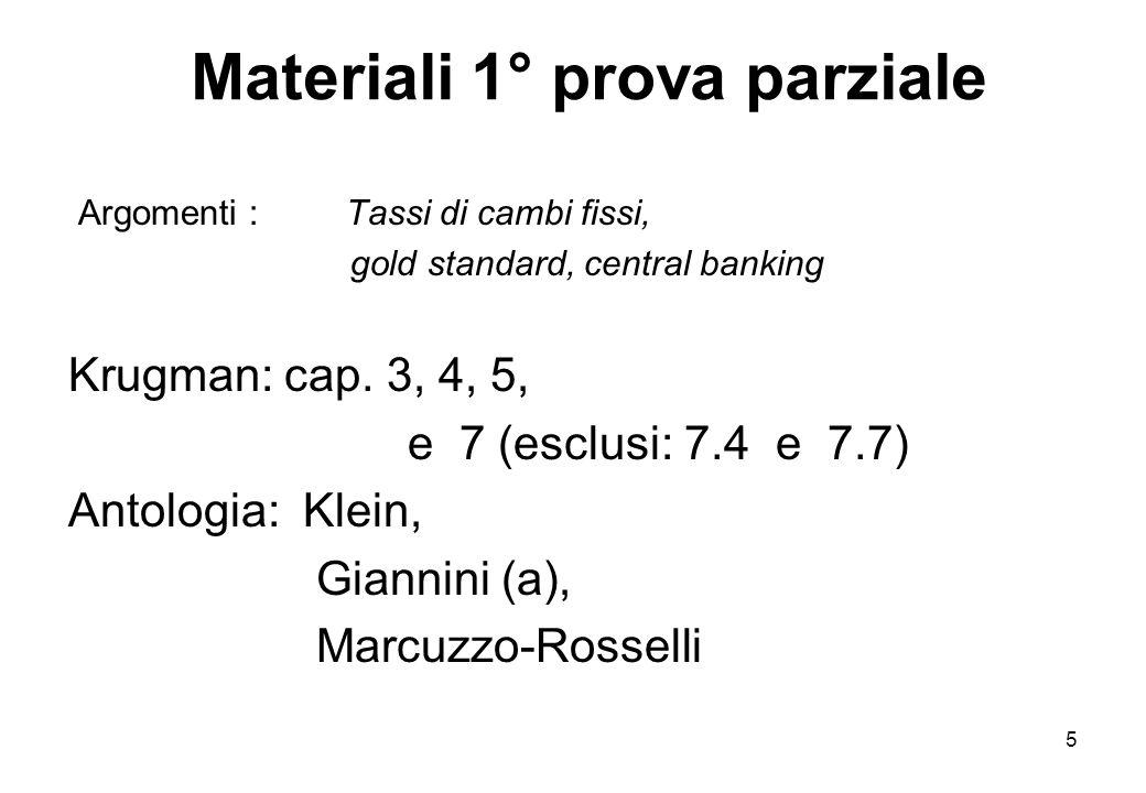 Materiali 1° prova parziale Argomenti : Tassi di cambi fissi, gold standard, central banking Krugman: cap. 3, 4, 5, e 7 (esclusi: 7.4 e 7.7) Antologia