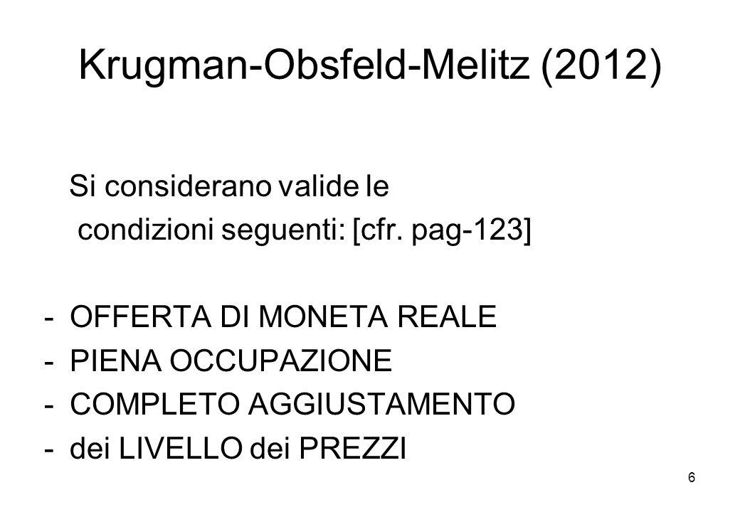 Krugman-Obsfeld-Melitz (2012) Si considerano valide le condizioni seguenti: [cfr. pag-123] -OFFERTA DI MONETA REALE -PIENA OCCUPAZIONE -COMPLETO AGGIU
