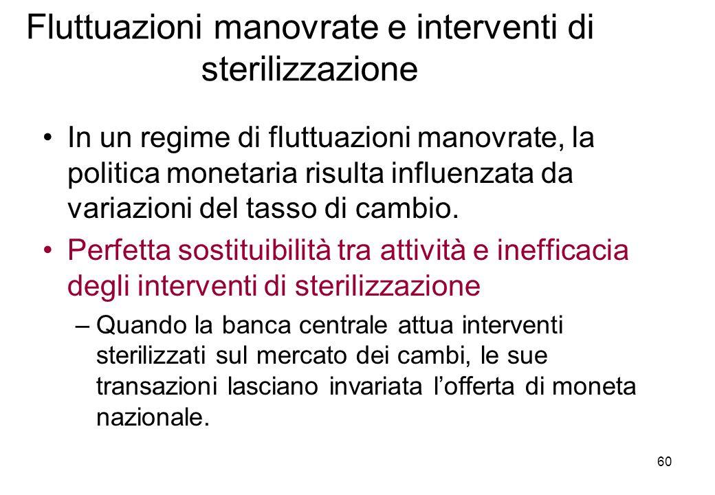 Fluttuazioni manovrate e interventi di sterilizzazione In un regime di fluttuazioni manovrate, la politica monetaria risulta influenzata da variazioni