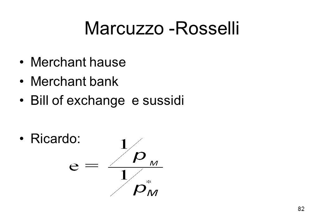 Marcuzzo -Rosselli Merchant hause Merchant bank Bill of exchange e sussidi Ricardo: 82