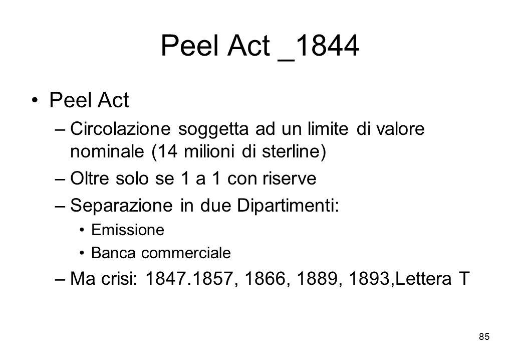 Peel Act _1844 Peel Act –Circolazione soggetta ad un limite di valore nominale (14 milioni di sterline) –Oltre solo se 1 a 1 con riserve –Separazione