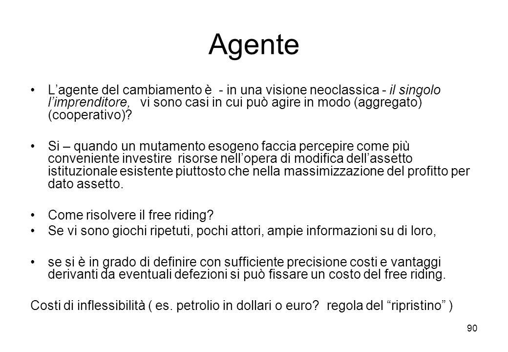 90 Agente Lagente del cambiamento è - in una visione neoclassica - il singolo limprenditore, vi sono casi in cui può agire in modo (aggregato) (cooper