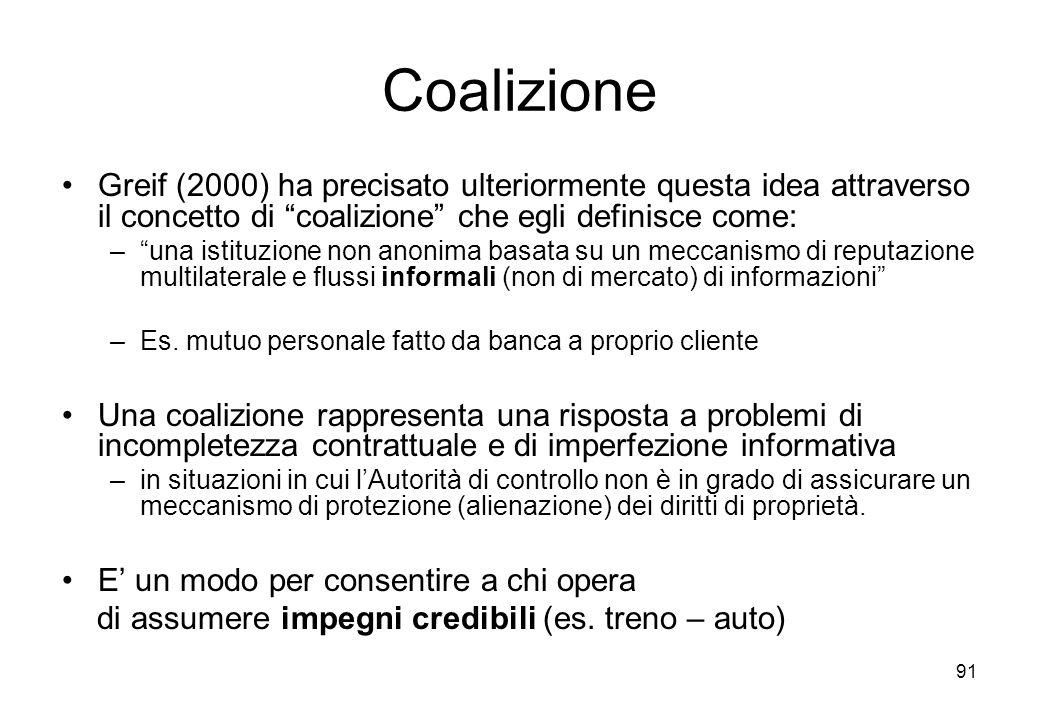 91 Coalizione Greif (2000) ha precisato ulteriormente questa idea attraverso il concetto di coalizione che egli definisce come: –una istituzione non a