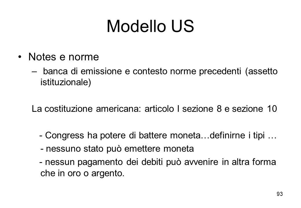 Modello US Notes e norme – banca di emissione e contesto norme precedenti (assetto istituzionale) La costituzione americana: articolo I sezione 8 e se