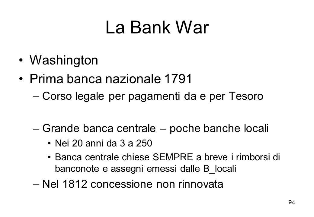 La Bank War Washington Prima banca nazionale 1791 –Corso legale per pagamenti da e per Tesoro –Grande banca centrale – poche banche locali Nei 20 anni