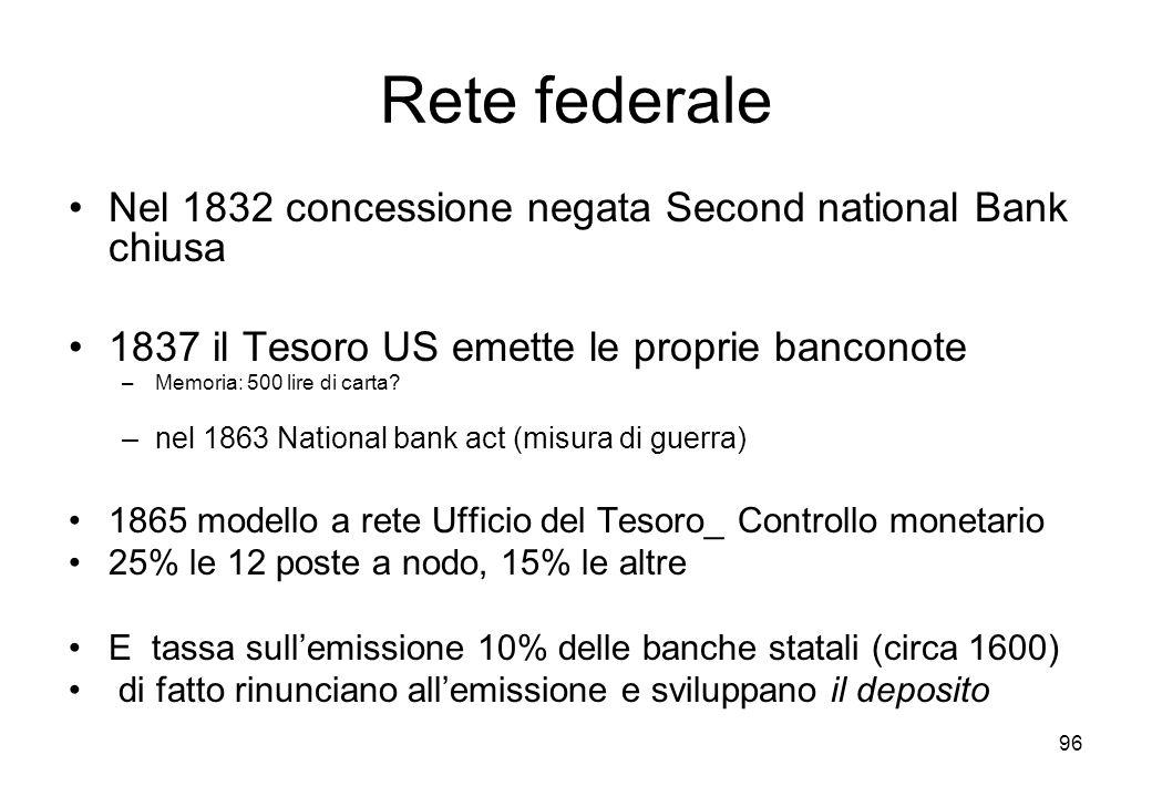 Rete federale Nel 1832 concessione negata Second national Bank chiusa 1837 il Tesoro US emette le proprie banconote –Memoria: 500 lire di carta? –nel