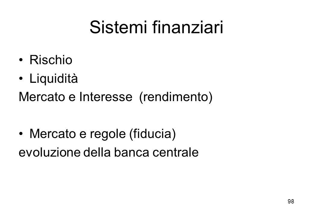 Sistemi finanziari Rischio Liquidità Mercato e Interesse (rendimento) Mercato e regole (fiducia) evoluzione della banca centrale 98