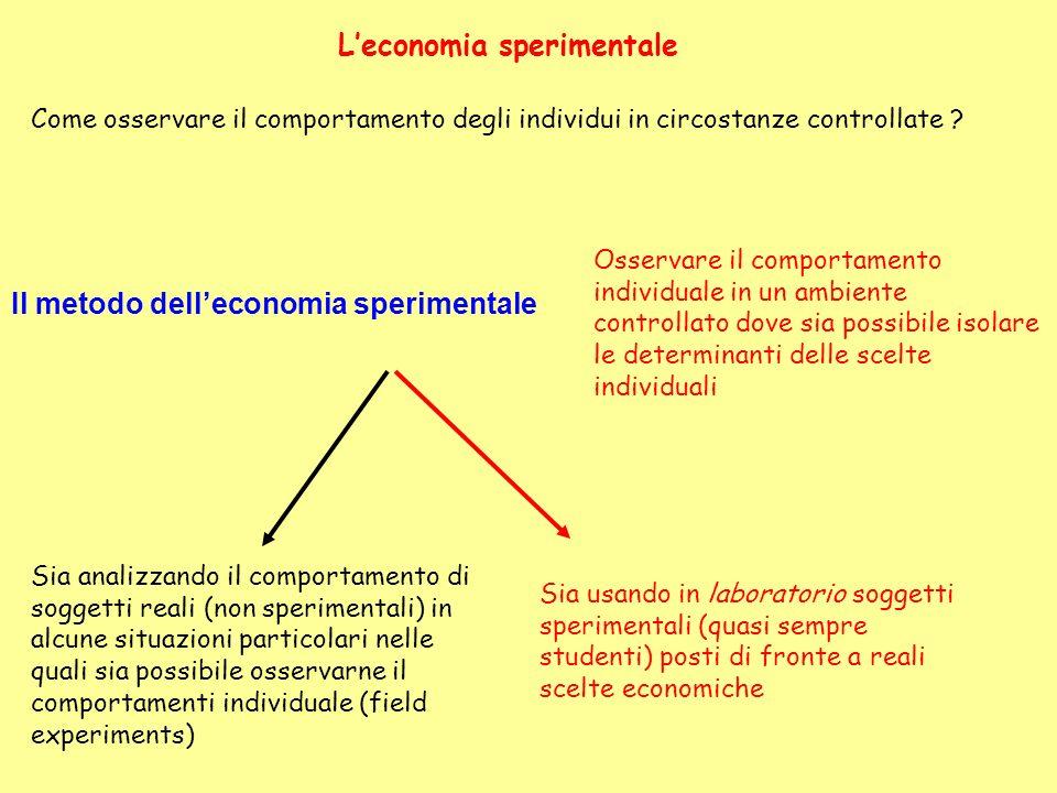 Leconomia sperimentale Come osservare il comportamento degli individui in circostanze controllate .