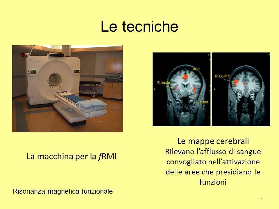 7 Le tecniche La macchina per la fRMI Le mappe cerebrali Rilevano lafflusso di sangue convogliato nellattivazione delle aree che presidiano le funzioni Risonanza magnetica funzionale