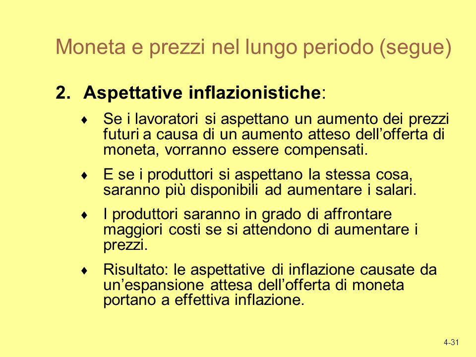 4-31 Moneta e prezzi nel lungo periodo (segue) 2.Aspettative inflazionistiche: Se i lavoratori si aspettano un aumento dei prezzi futuri a causa di un