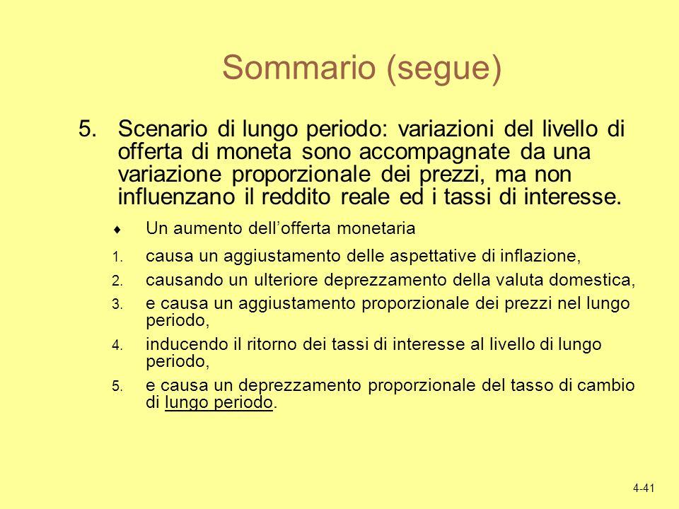 4-41 Sommario (segue) 5.Scenario di lungo periodo: variazioni del livello di offerta di moneta sono accompagnate da una variazione proporzionale dei p