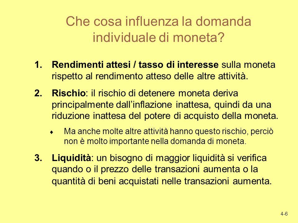 4-6 Che cosa influenza la domanda individuale di moneta? 1.Rendimenti attesi / tasso di interesse sulla moneta rispetto al rendimento atteso delle alt
