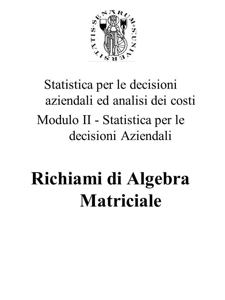 Statistica per le decisioni aziendali ed analisi dei costi Modulo II - Statistica per le decisioni Aziendali Richiami di Algebra Matriciale