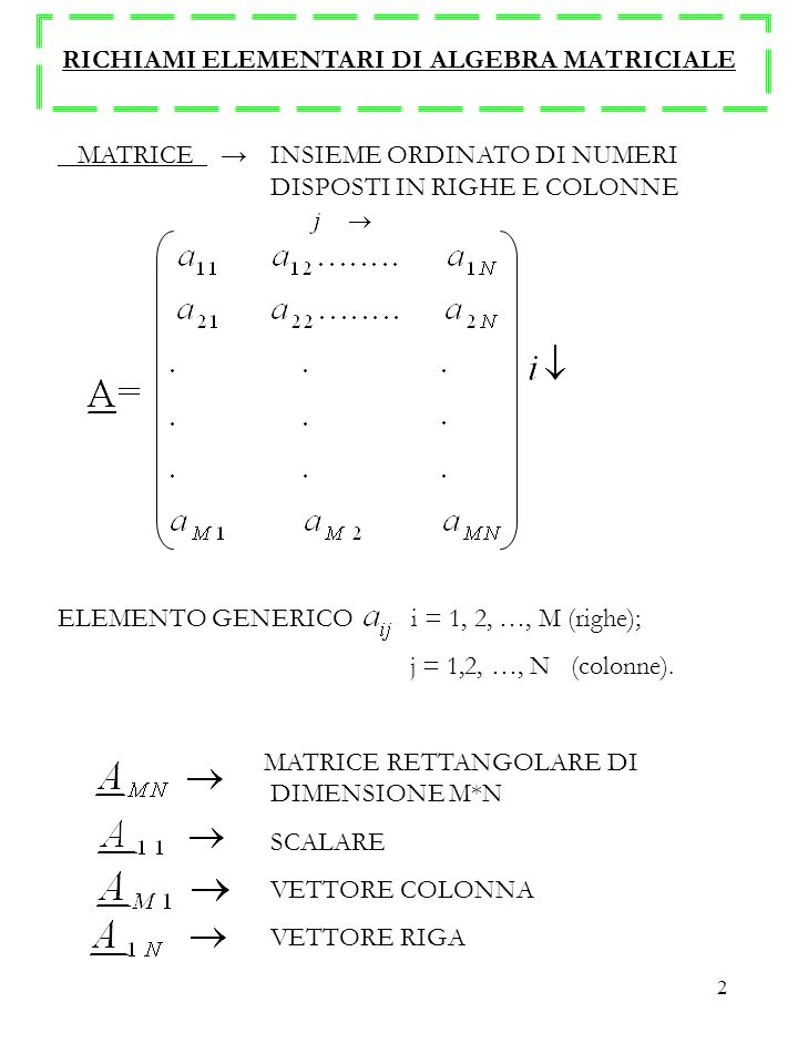 2 RICHIAMI ELEMENTARI DI ALGEBRA MATRICIALE MATRICE INSIEME ORDINATO DI NUMERI DISPOSTI IN RIGHE E COLONNE ELEMENTO GENERICO i = 1, 2, …, M (righe); j = 1,2, …, N (colonne).