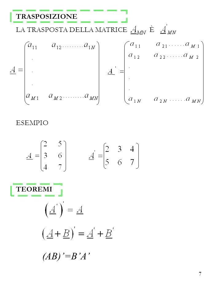 7 TRASPOSIZIONE LA TRASPOSTA DELLA MATRICE È ESEMPIO TEOREMI (AB)=BA