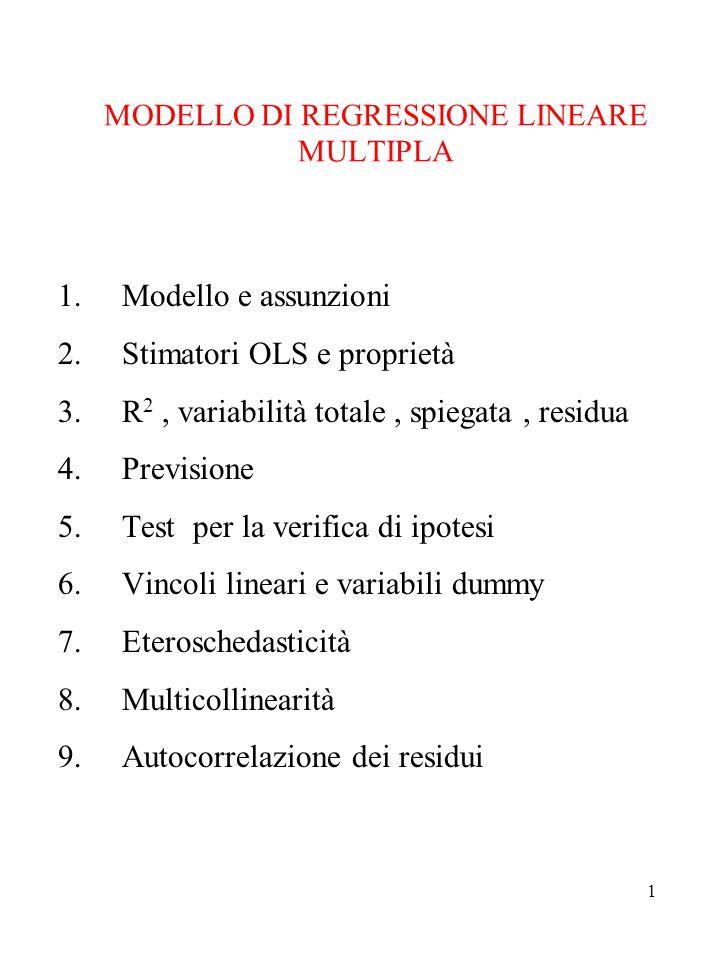 1 MODELLO DI REGRESSIONE LINEARE MULTIPLA 1.Modello e assunzioni 2.Stimatori OLS e proprietà 3.R 2, variabilità totale, spiegata, residua 4.Previsione