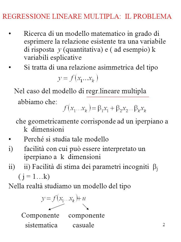 3 IL MODELLO In forma matriciale dove : vettore (n x 1) di osservazioni sulla variabile dipendente : matrice (n x k) di osservazioni su k regressori : vettore (k x 1) di parametri incogniti : vettore (n x 1) di disturbi stocastici