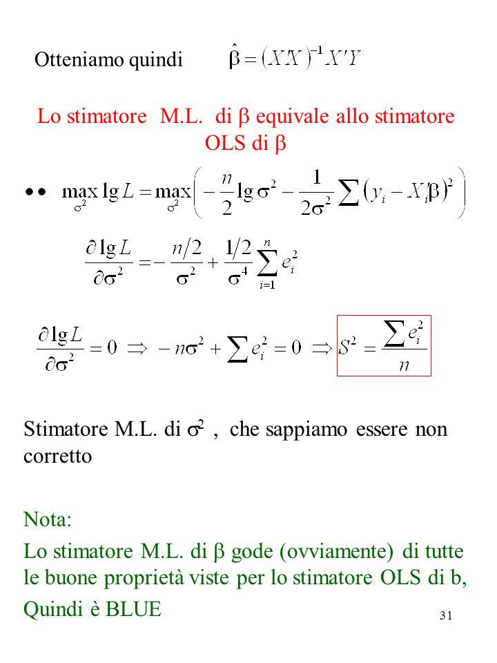 31 Otteniamo quindi Lo stimatore M.L. di equivale allo stimatore OLS di Stimatore M.L. di 2, che sappiamo essere non corretto Nota: Lo stimatore M.L.