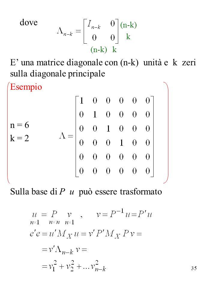 35 dove (n-k) k (n-k) k E una matrice diagonale con (n-k) unità e k zeri sulla diagonale principale Esempio n = 6 k = 2 Sulla base di P u può essere t