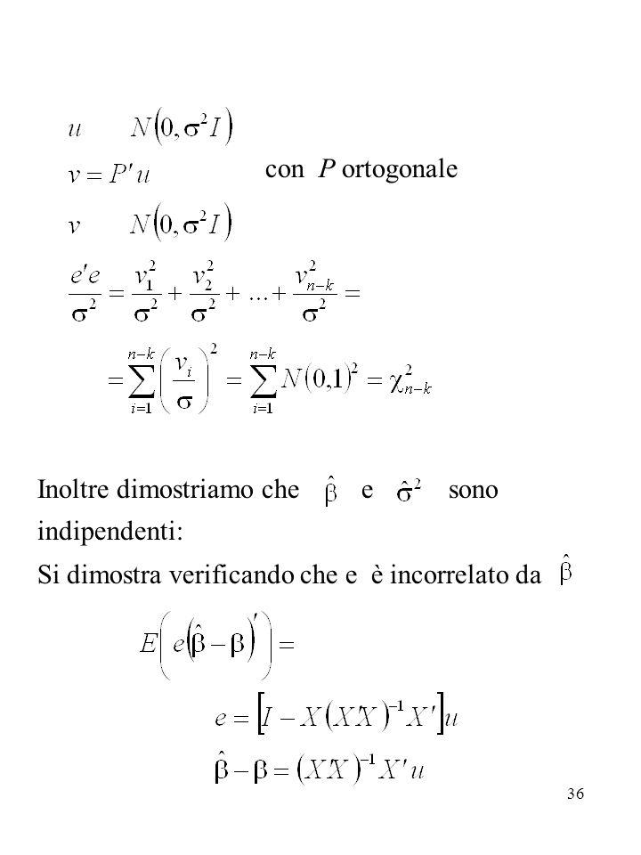 36 con P ortogonale Inoltre dimostriamo che e sono indipendenti: Si dimostra verificando che e è incorrelato da