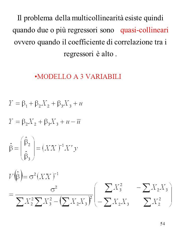 54 Il problema della multicollinearità esiste quindi quando due o più regressori sono quasi-collineari ovvero quando il coefficiente di correlazione t