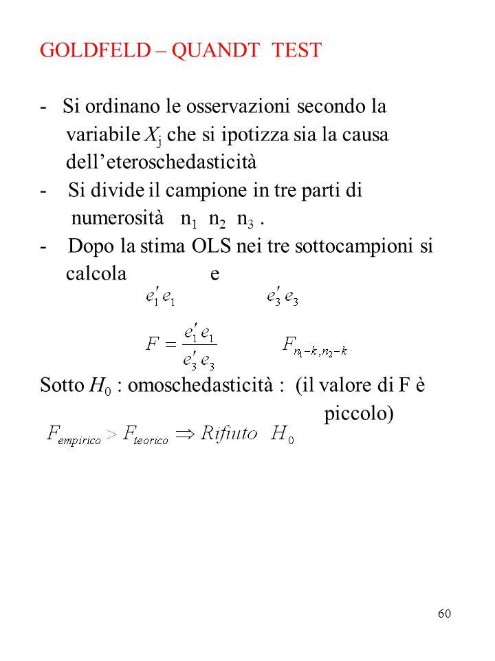 60 GOLDFELD – QUANDT TEST - Si ordinano le osservazioni secondo la variabile X j che si ipotizza sia la causa delleteroschedasticità - Si divide il ca