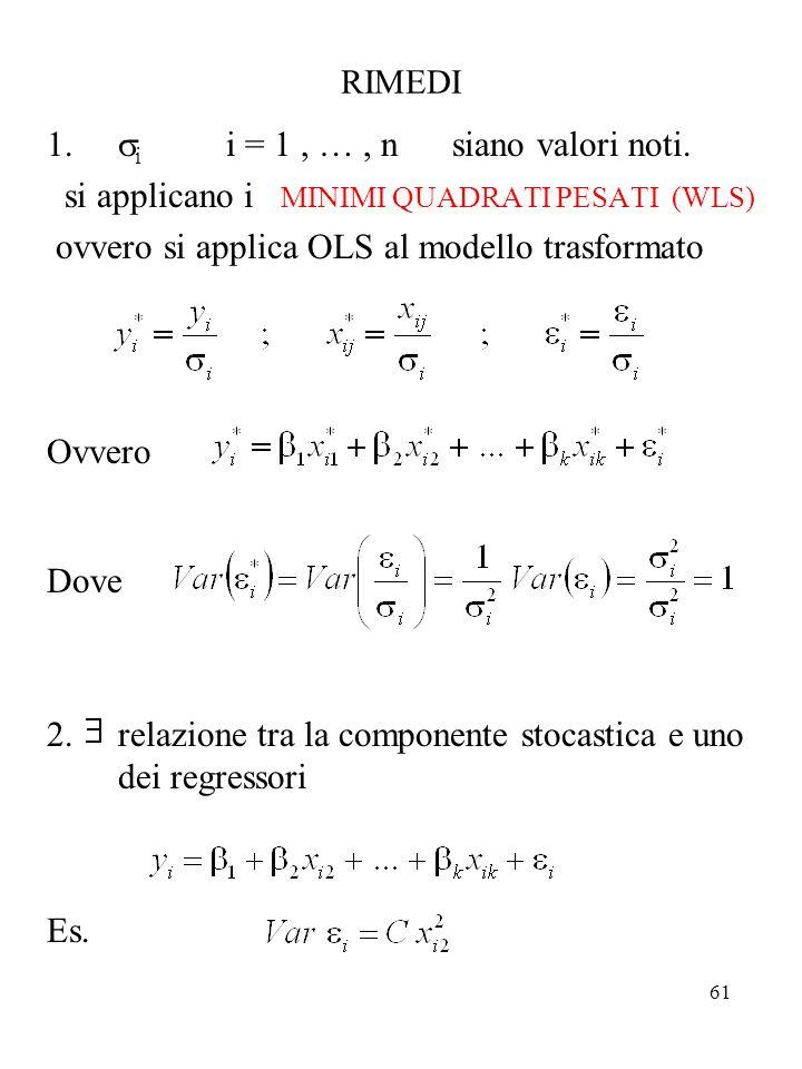 61 RIMEDI i i = 1, …, n siano valori noti. si applicano i MINIMI QUADRATI PESATI (WLS) ovvero si applica OLS al modello trasformato Ovvero Dove 2.rela