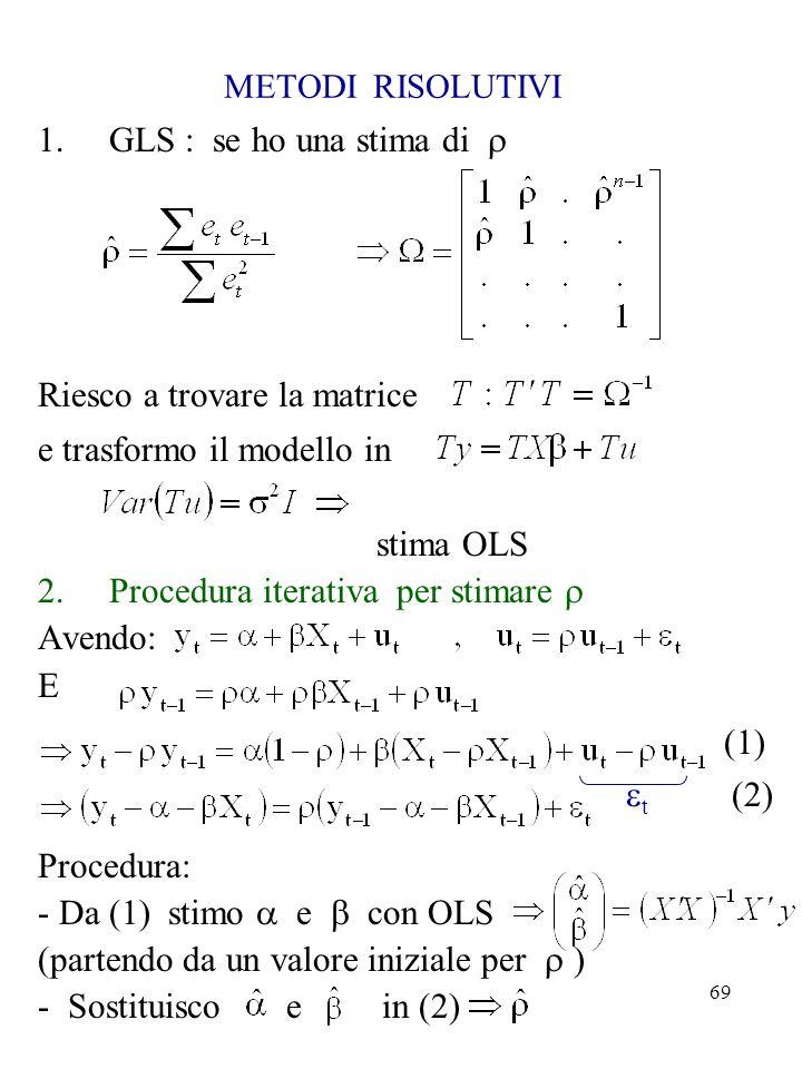 69 METODI RISOLUTIVI 1.GLS : se ho una stima di Riesco a trovare la matrice e trasformo il modello in stima OLS 2.Procedura iterativa per stimare Aven