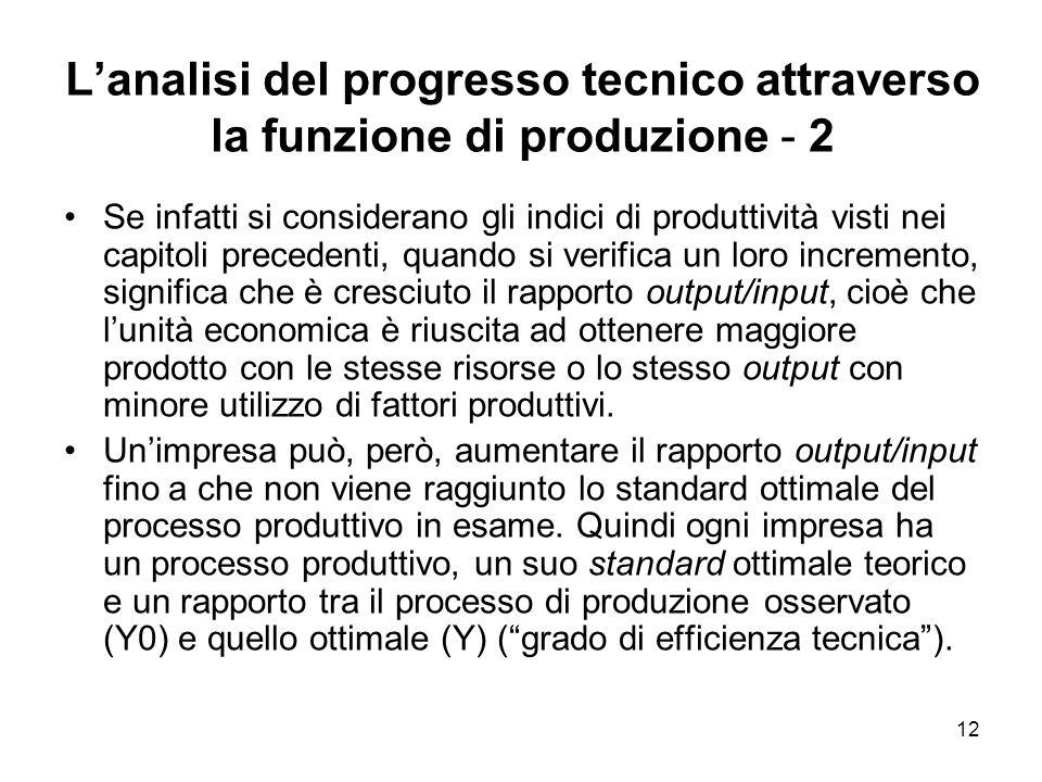 12 Lanalisi del progresso tecnico attraverso la funzione di produzione - 2 Se infatti si considerano gli indici di produttività visti nei capitoli pre