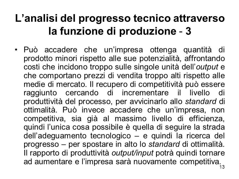 13 Lanalisi del progresso tecnico attraverso la funzione di produzione - 3 Può accadere che unimpresa ottenga quantità di prodotto minori rispetto all